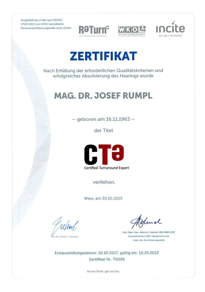 unternehmenssanierung - zertifikat - dr. josef rummpl